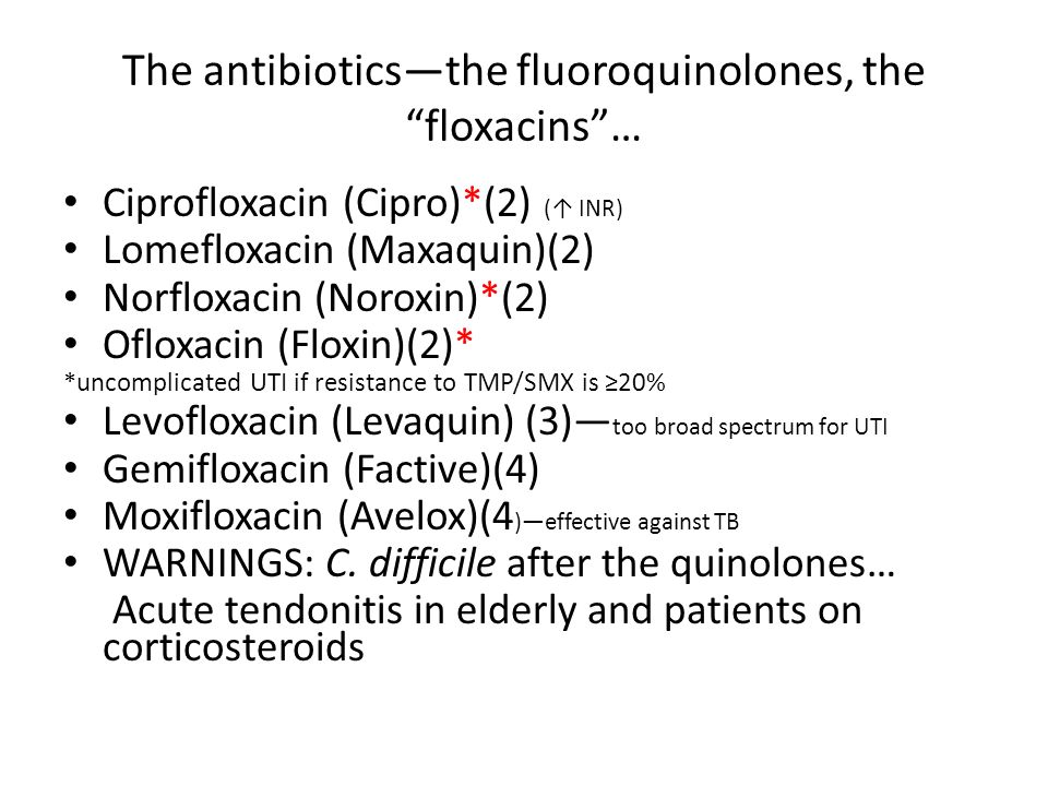The antibiotics—the fluoroquinolones, the floxacins …