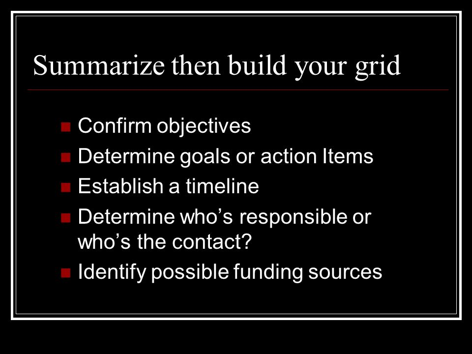 Summarize then build your grid
