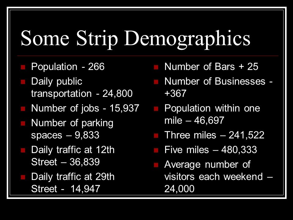 Some Strip Demographics
