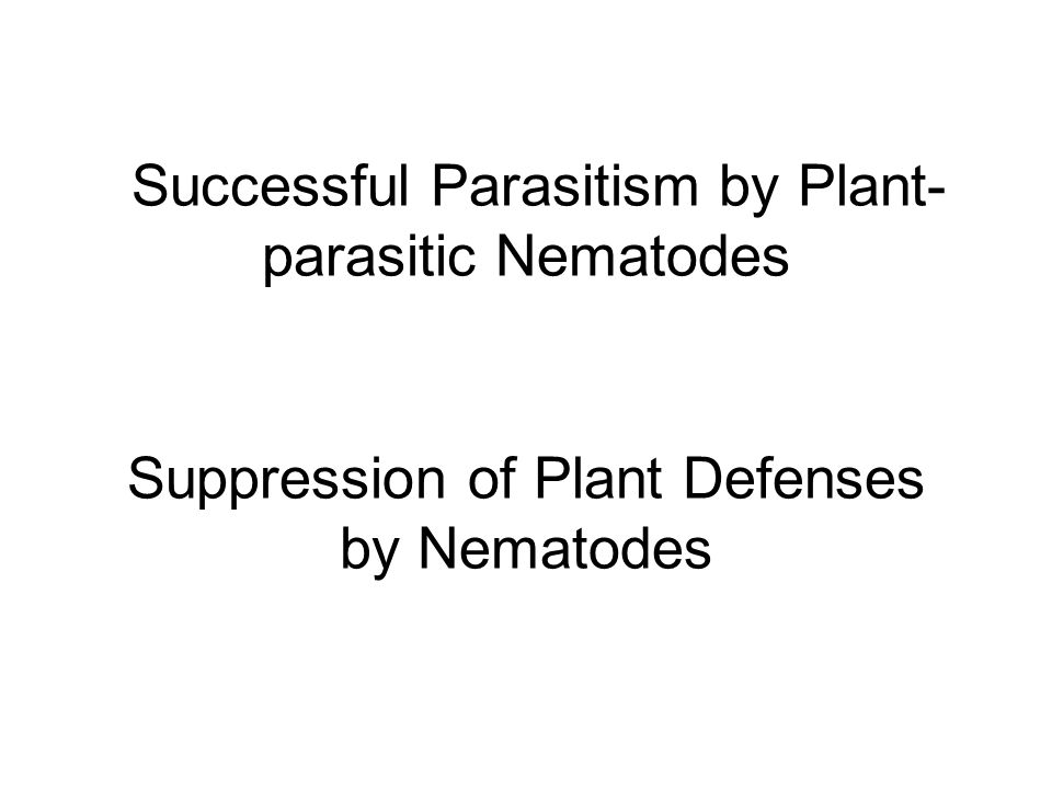 Successful Parasitism by Plant-parasitic Nematodes Suppression of Plant Defenses by Nematodes