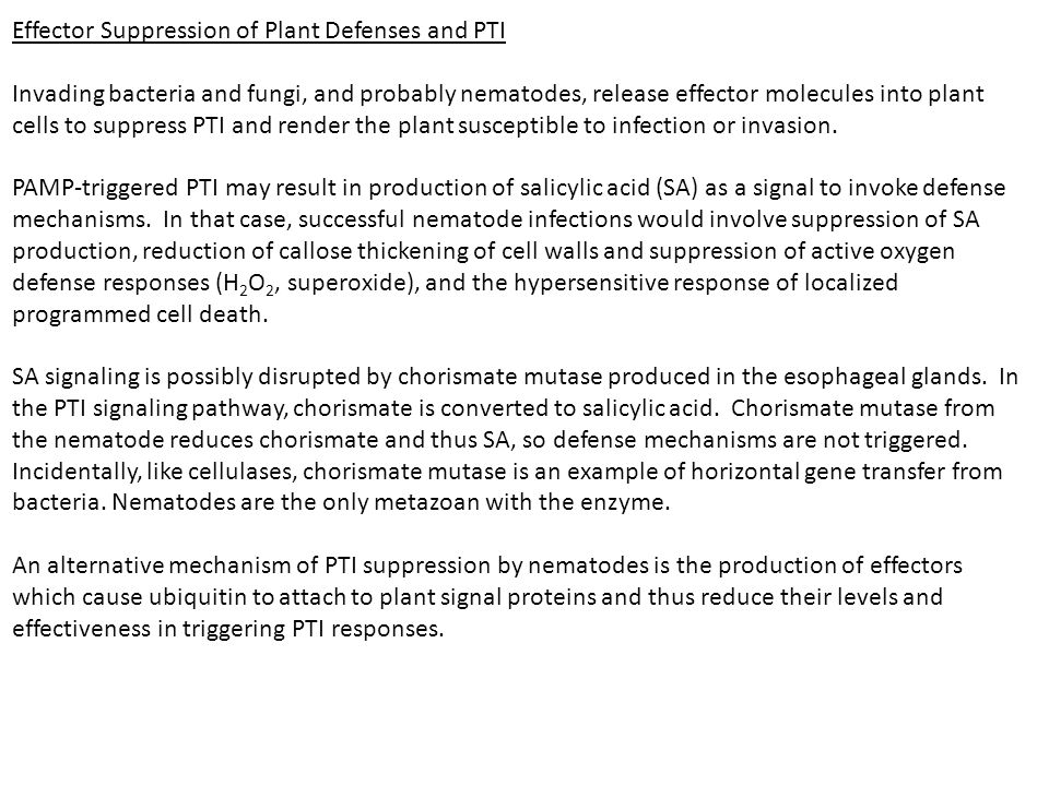 Effector Suppression of Plant Defenses and PTI