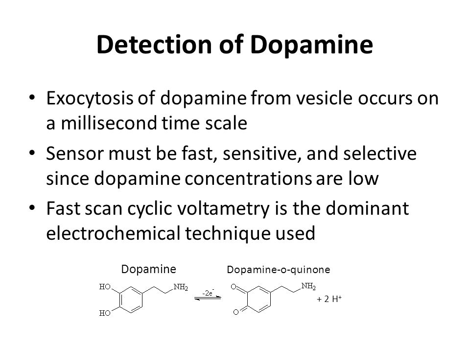 Detection of Dopamine Exocytosis of dopamine from vesicle occurs on a millisecond time scale.