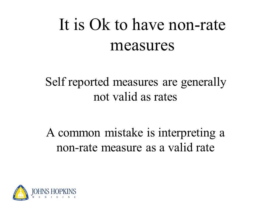 It is Ok to have non-rate measures