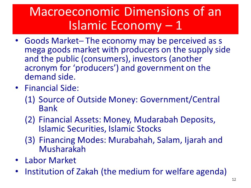 Macroeconomic Dimensions of an Islamic Economy – 1