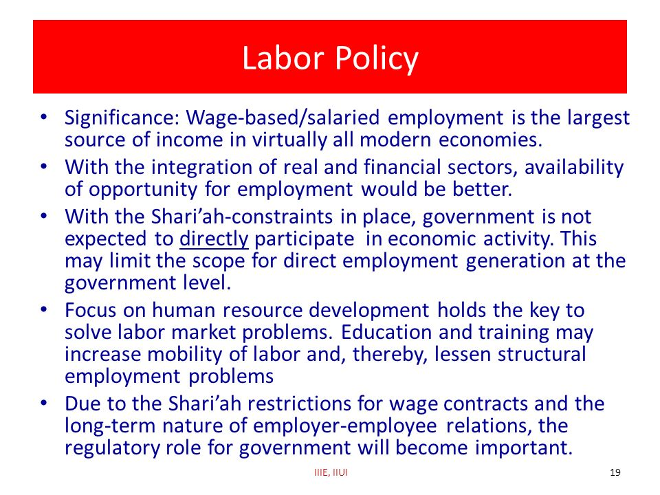 Labor Policy Significance: Wage-based/salaried employment is the largest source of income in virtually all modern economies.