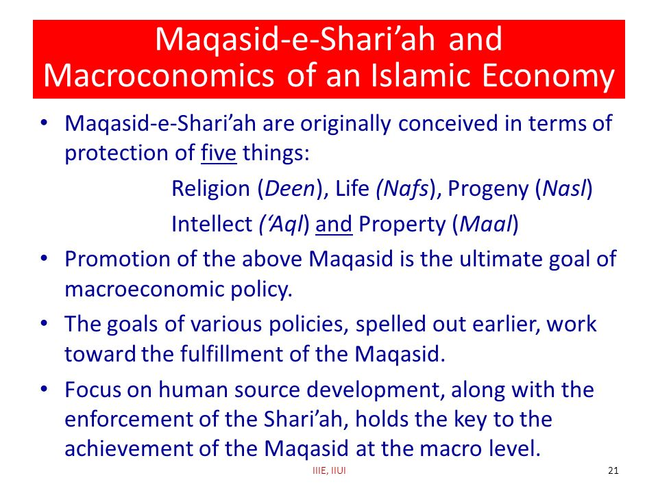 Maqasid-e-Shari'ah and Macroconomics of an Islamic Economy