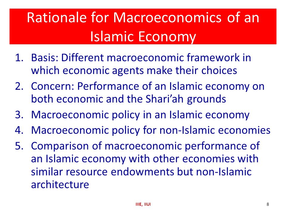 Rationale for Macroeconomics of an Islamic Economy