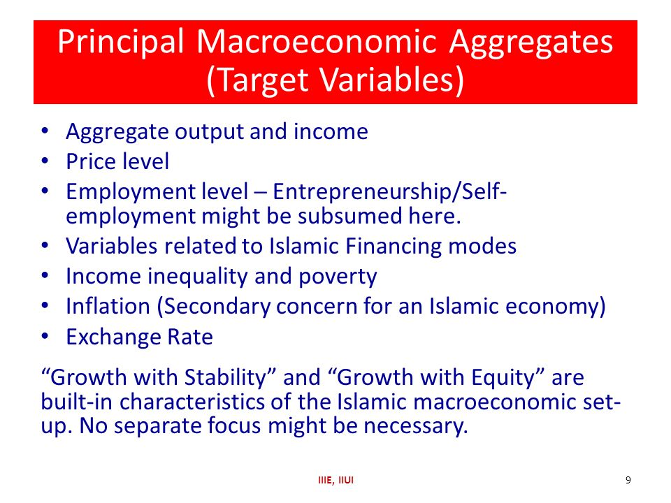 Principal Macroeconomic Aggregates (Target Variables)