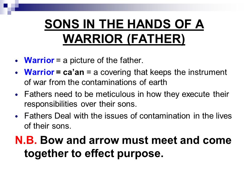 SONS IN THE HANDS OF A WARRIOR (FATHER)