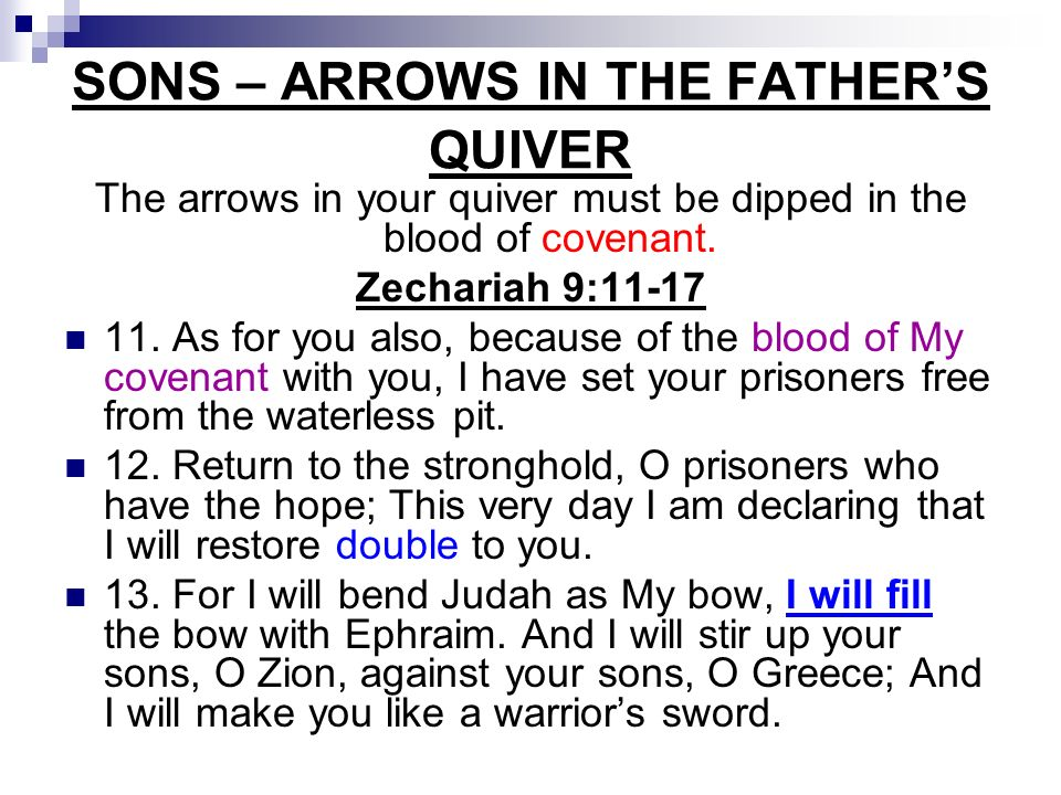 SONS – ARROWS IN THE FATHER'S QUIVER