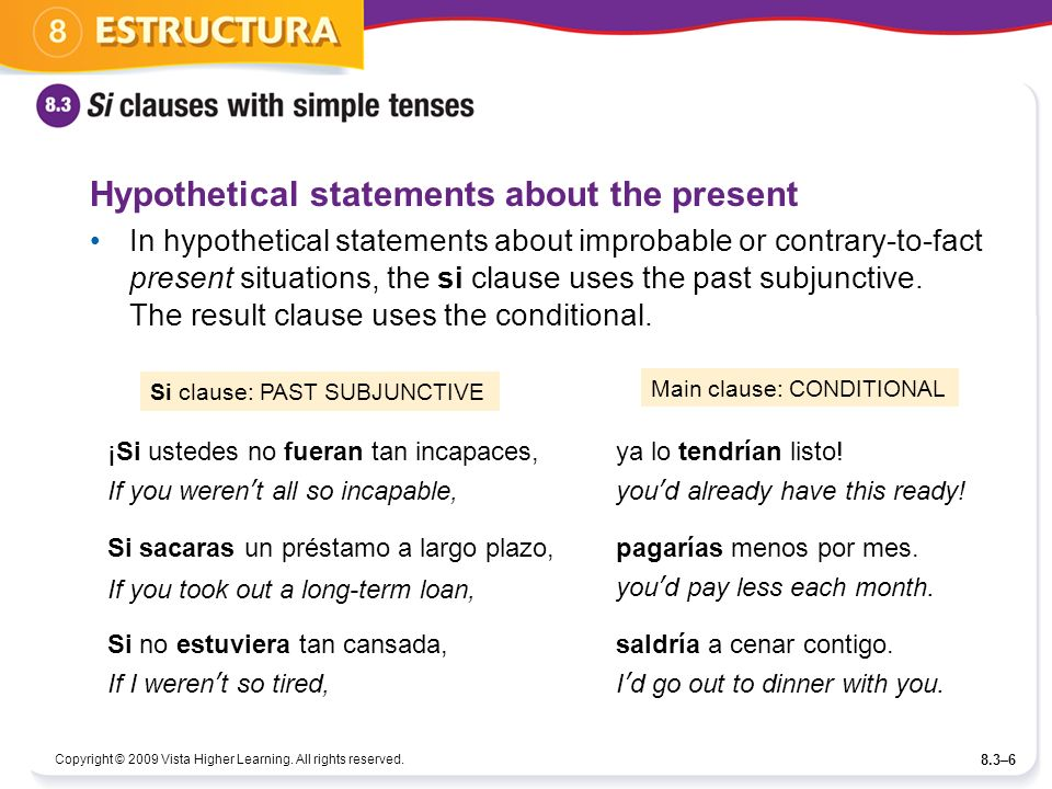 Hypothetical statements about the present