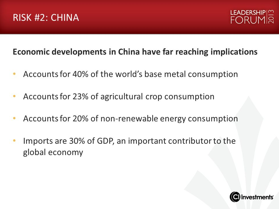 RISK #2: CHINA Economic developments in China have far reaching implications. Accounts for 40% of the world's base metal consumption.