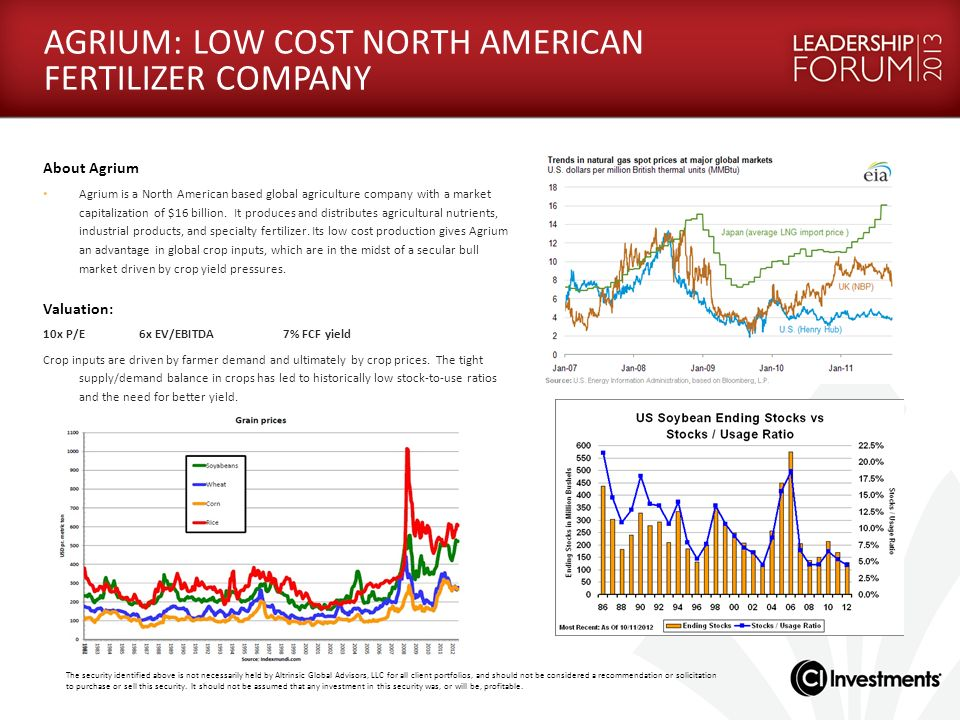 AGRIUM: LOW COST NORTH AMERICAN FERTILIZER COMPANY