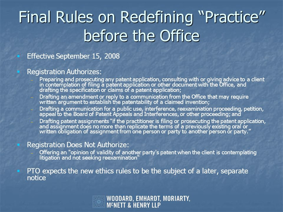 Final Rules on Redefining Practice before the Office