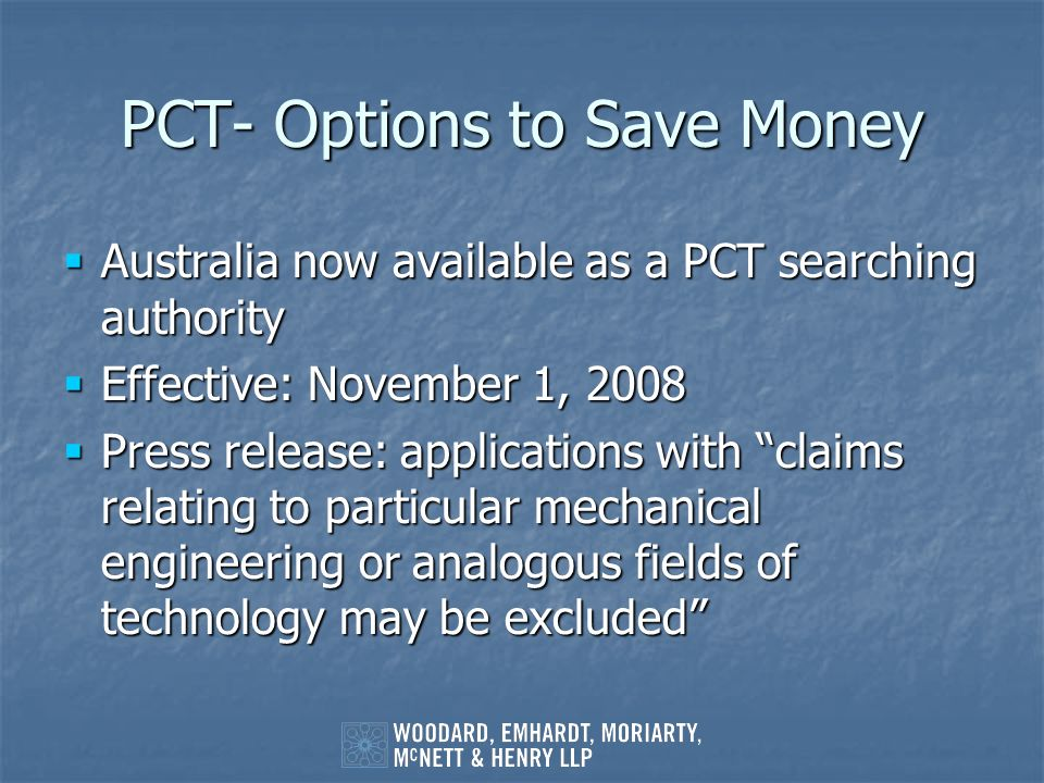 PCT- Options to Save Money
