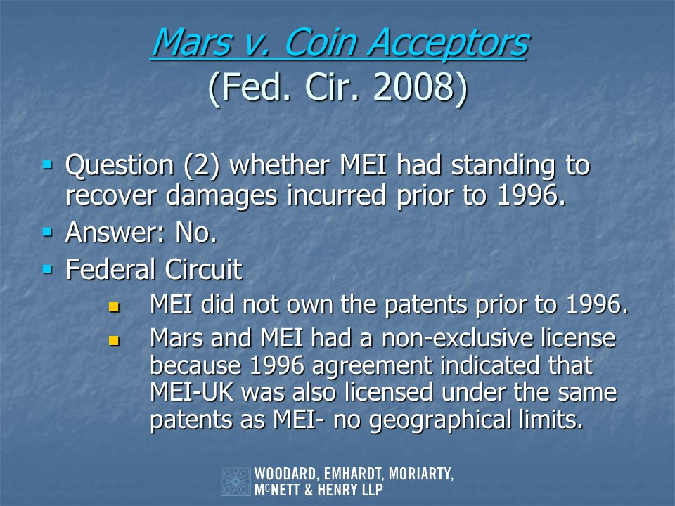 Mars v. Coin Acceptors (Fed. Cir. 2008)