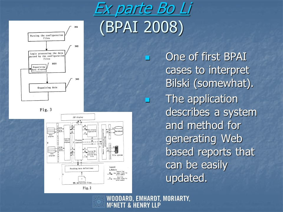 Ex parte Bo Li (BPAI 2008) One of first BPAI cases to interpret Bilski (somewhat).