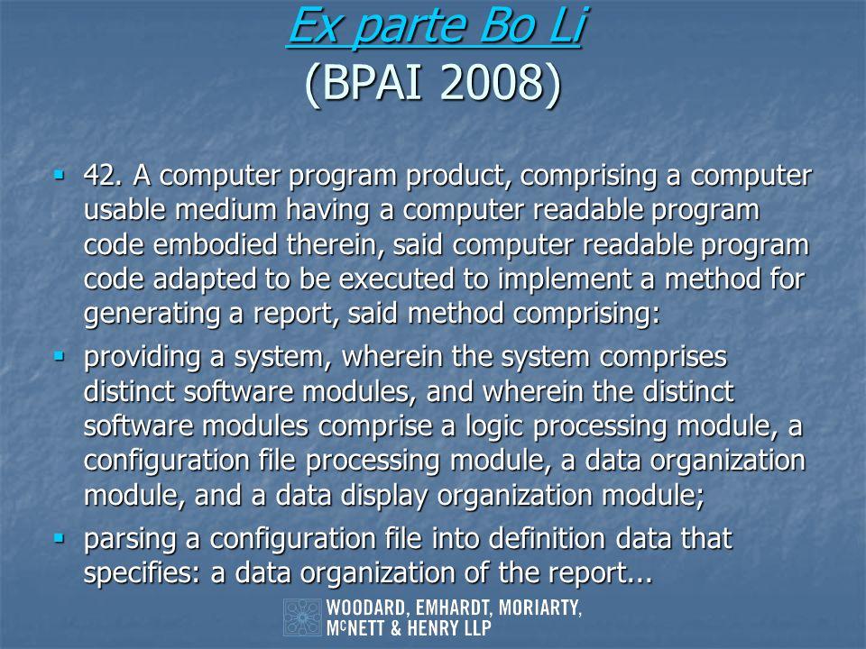 Ex parte Bo Li (BPAI 2008)