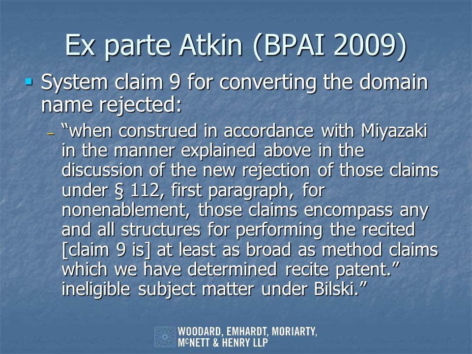 Ex parte Atkin (BPAI 2009) System claim 9 for converting the domain name rejected: