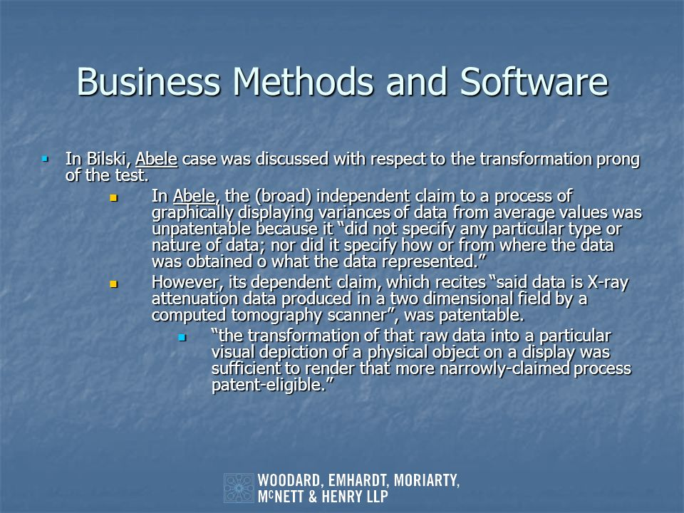 Business Methods and Software
