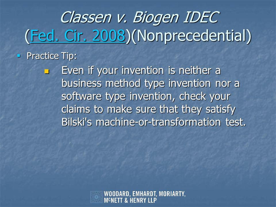 Classen v. Biogen IDEC (Fed. Cir. 2008)(Nonprecedential)