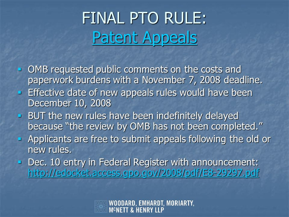 FINAL PTO RULE: Patent Appeals