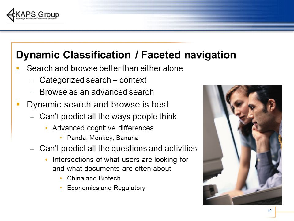 Dynamic Classification / Faceted navigation