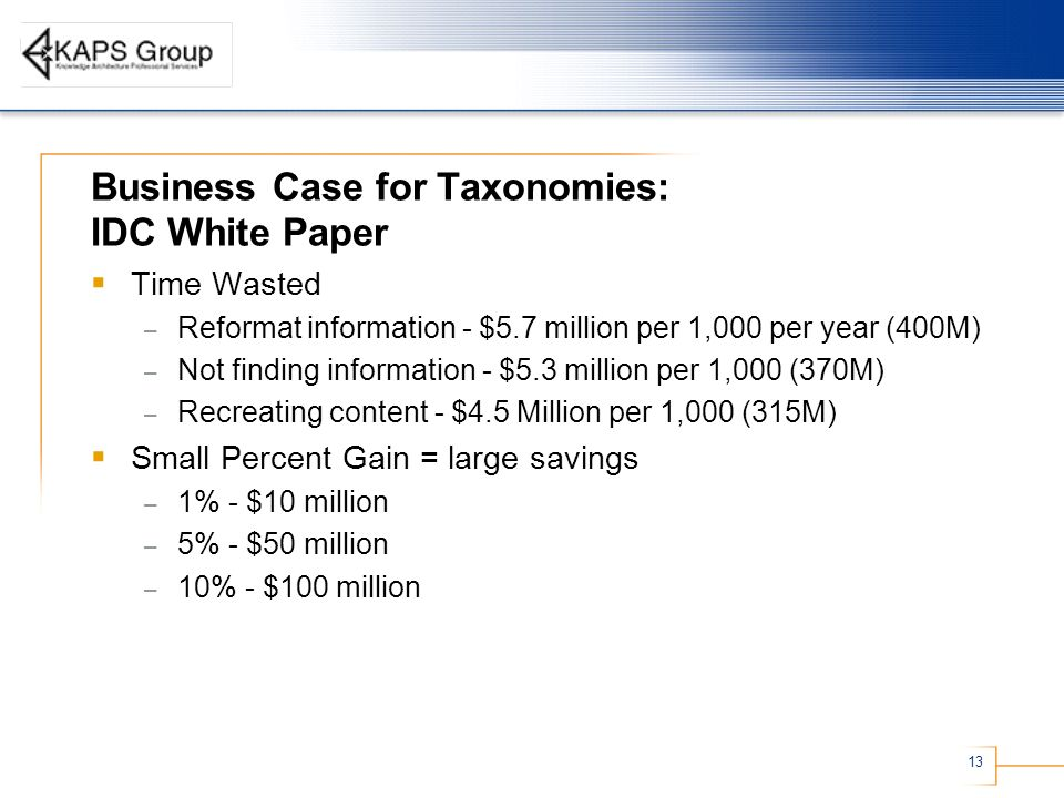 Business Case for Taxonomies: IDC White Paper
