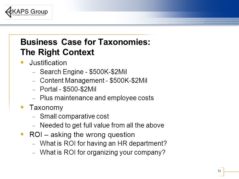 Business Case for Taxonomies: The Right Context