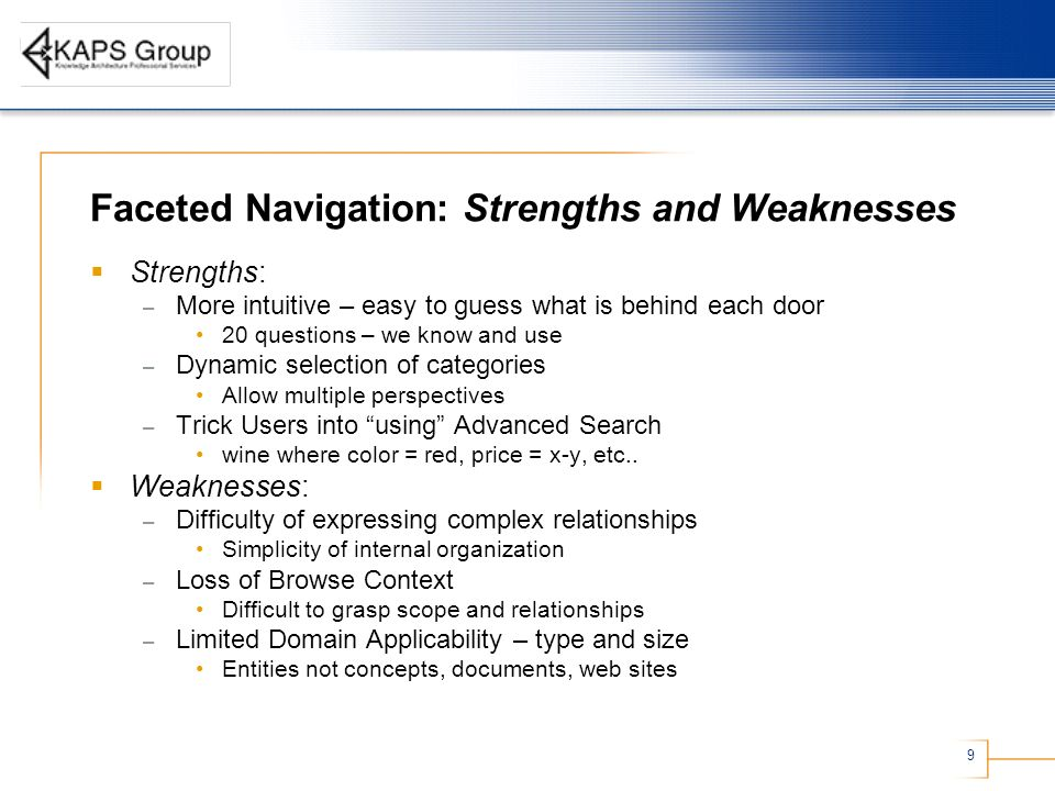 Faceted Navigation: Strengths and Weaknesses