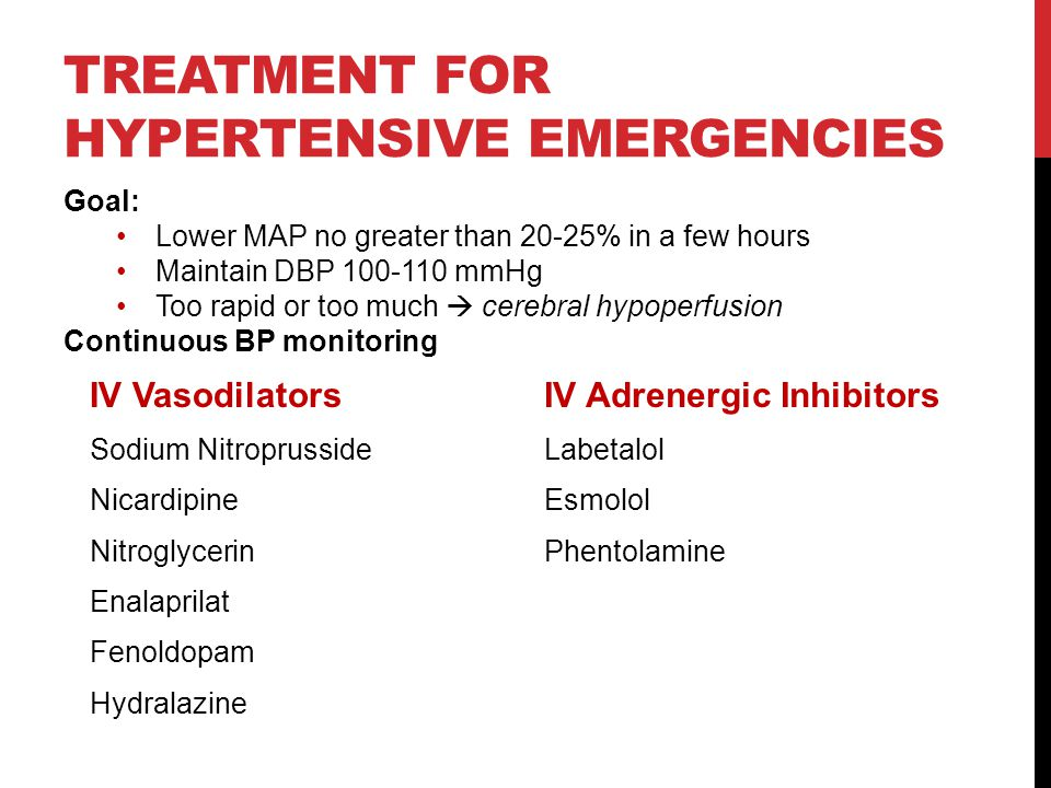 Treatment for Hypertensive Emergencies