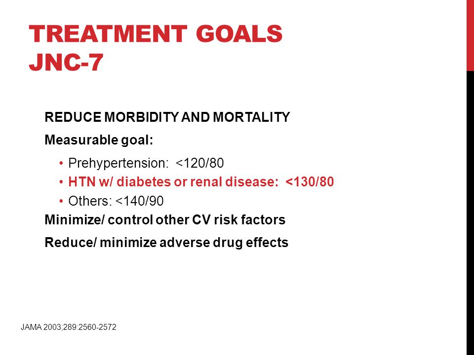 TREATMENT GOALS JNC-7 REDUCE MORBIDITY AND MORTALITY Measurable goal: