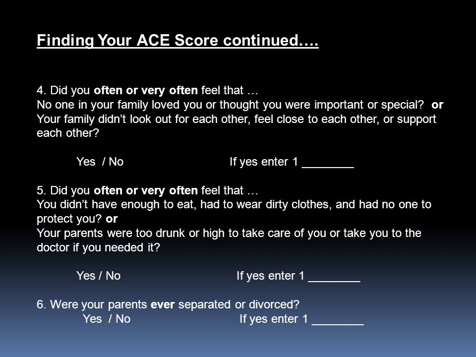 Finding Your ACE Score continued….