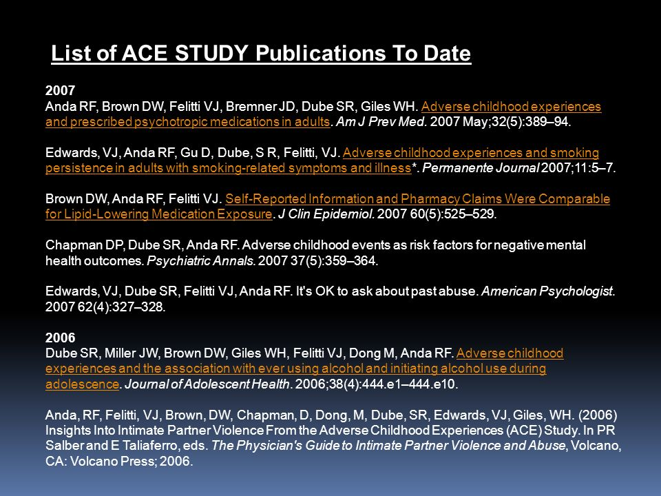 List of ACE STUDY Publications To Date