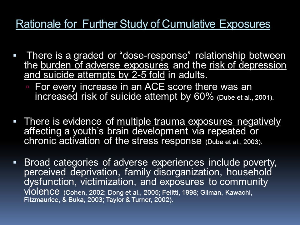 Rationale for Further Study of Cumulative Exposures