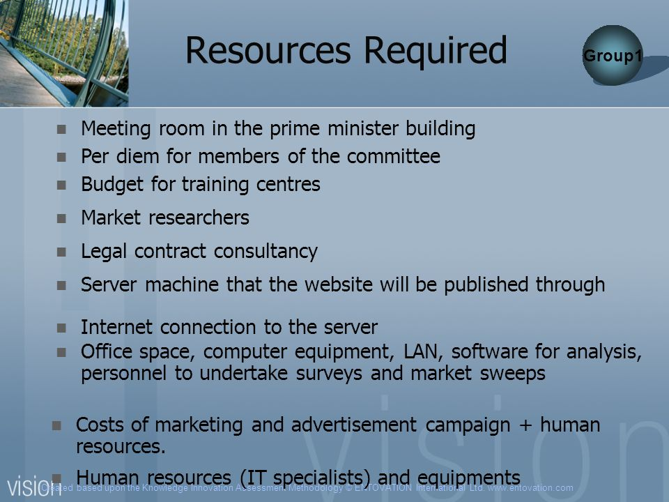 Resources Required Meeting room in the prime minister building