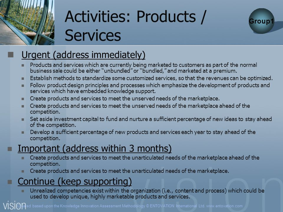 Activities: Products / Services