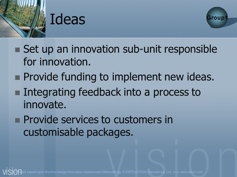 Ideas Set up an innovation sub-unit responsible for innovation.