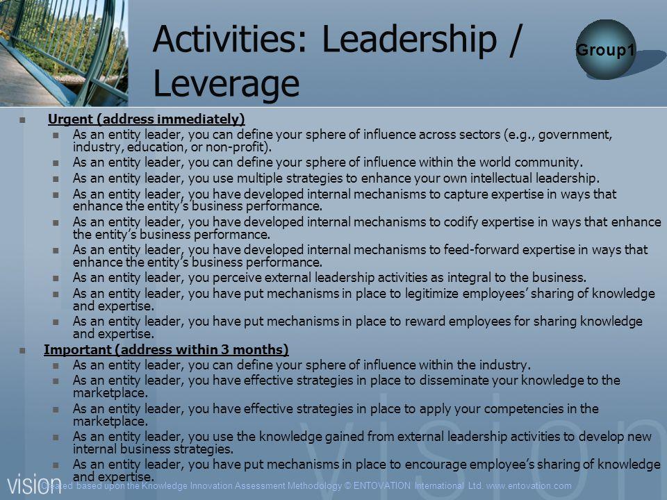 Activities: Leadership / Leverage