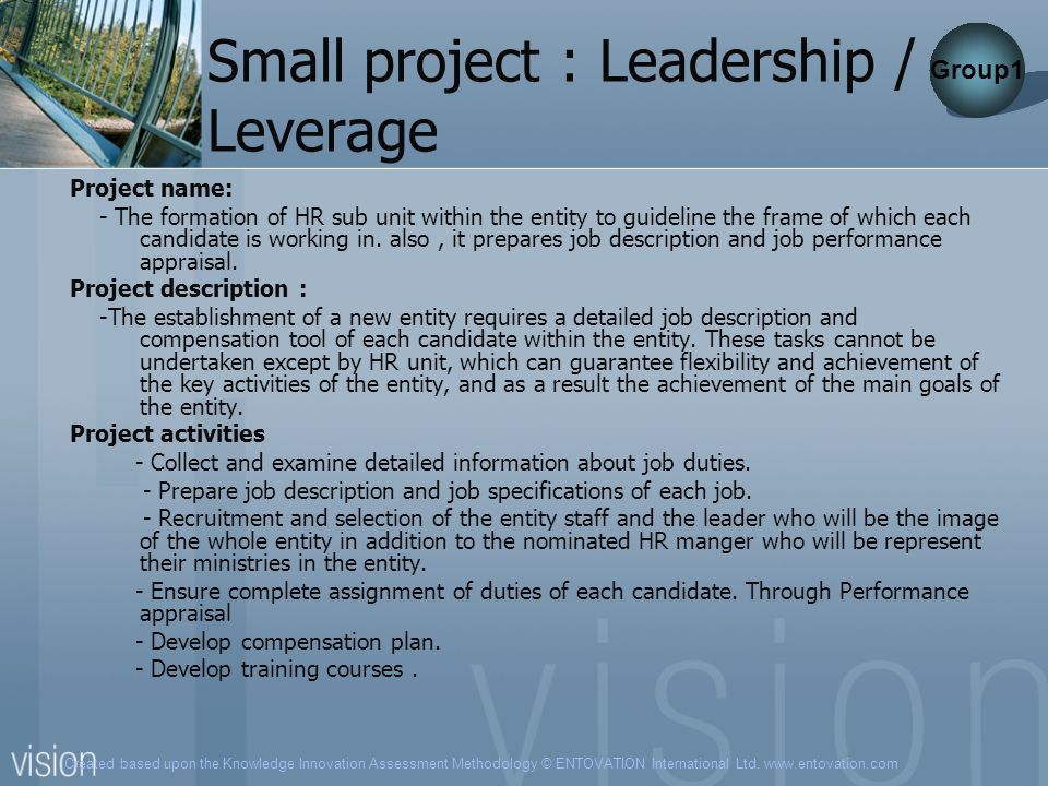 Small project : Leadership / Leverage