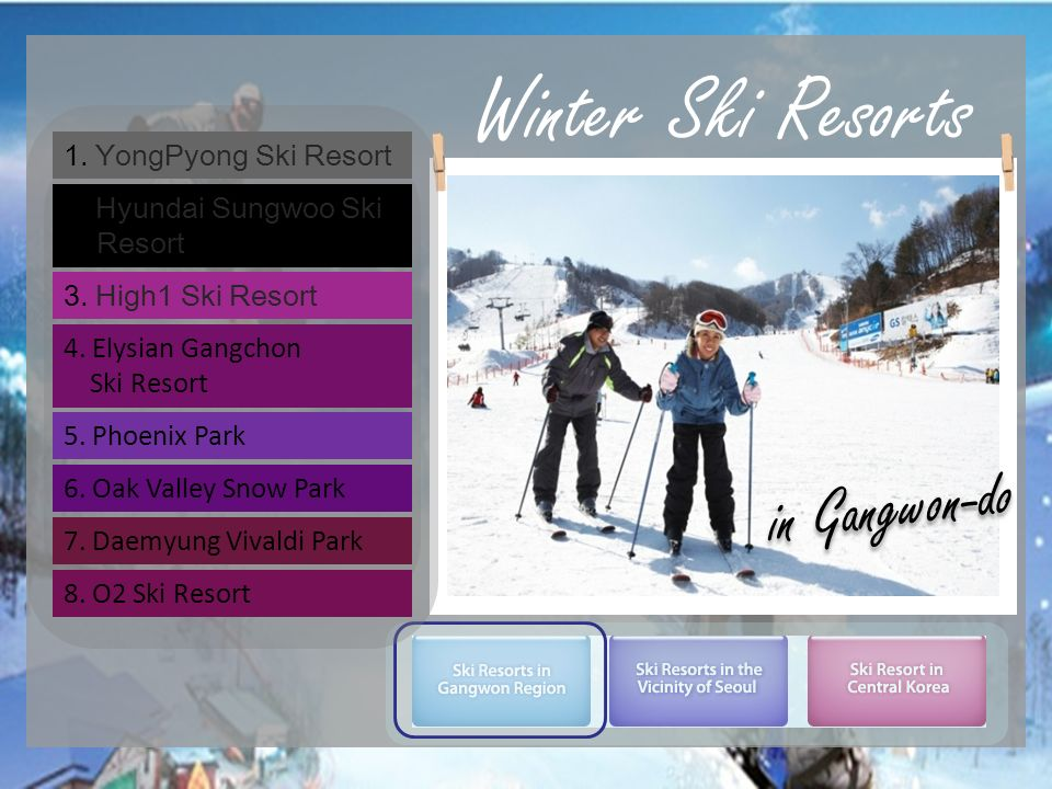 Winter Ski Resorts in Gangwon-do 1. YongPyong Ski Resort