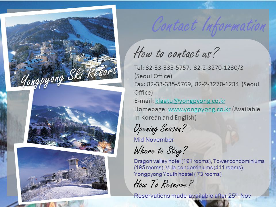 Contact Information How to contact us