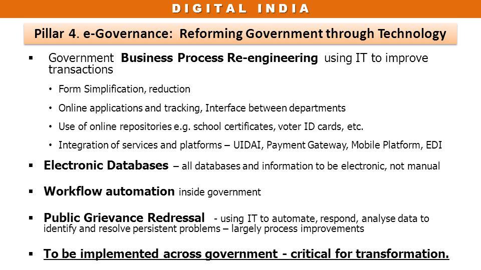 Pillar 4. e-Governance: Reforming Government through Technology