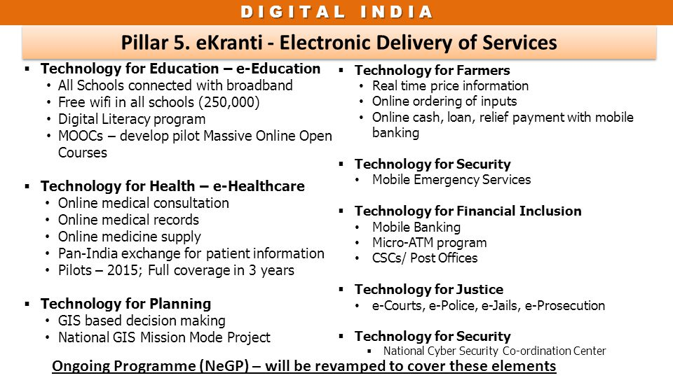 Pillar 5. eKranti - Electronic Delivery of Services