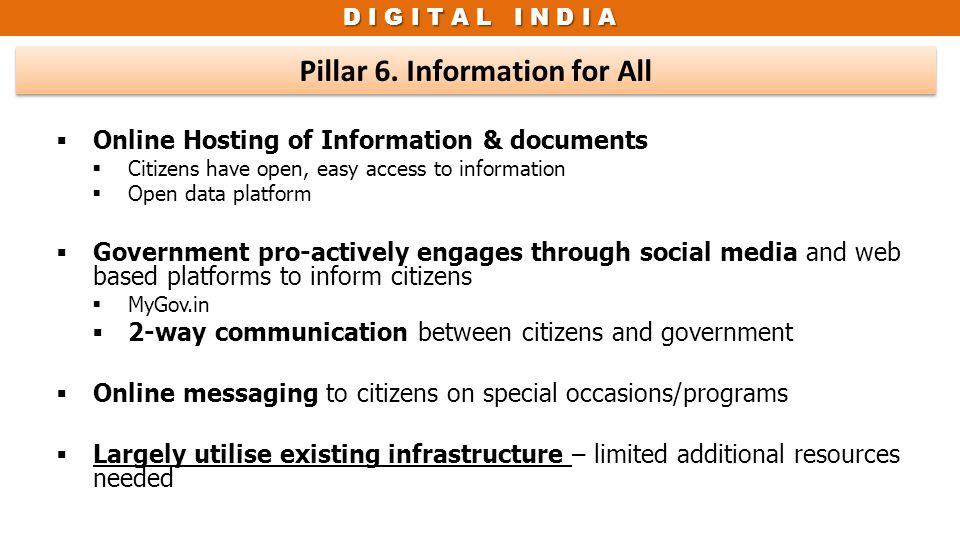 Pillar 6. Information for All