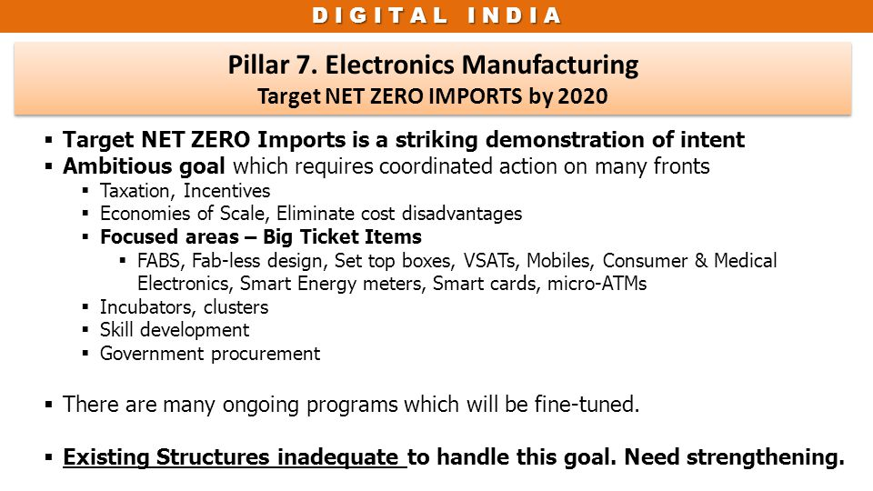 Pillar 7. Electronics Manufacturing Target NET ZERO IMPORTS by 2020