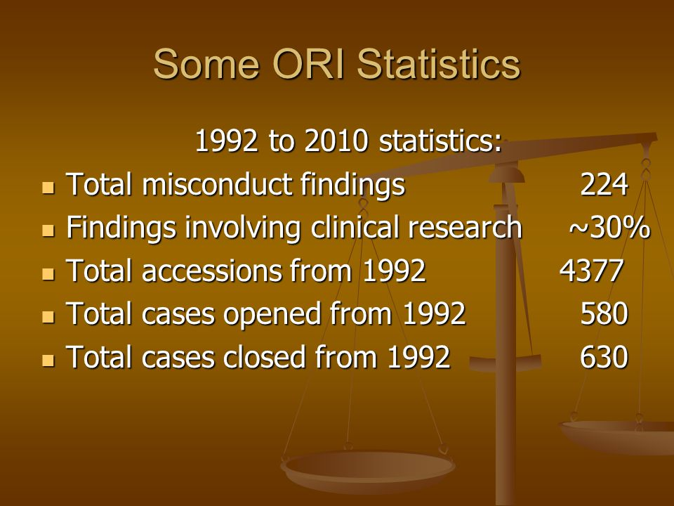 Some ORI Statistics 1992 to 2010 statistics: