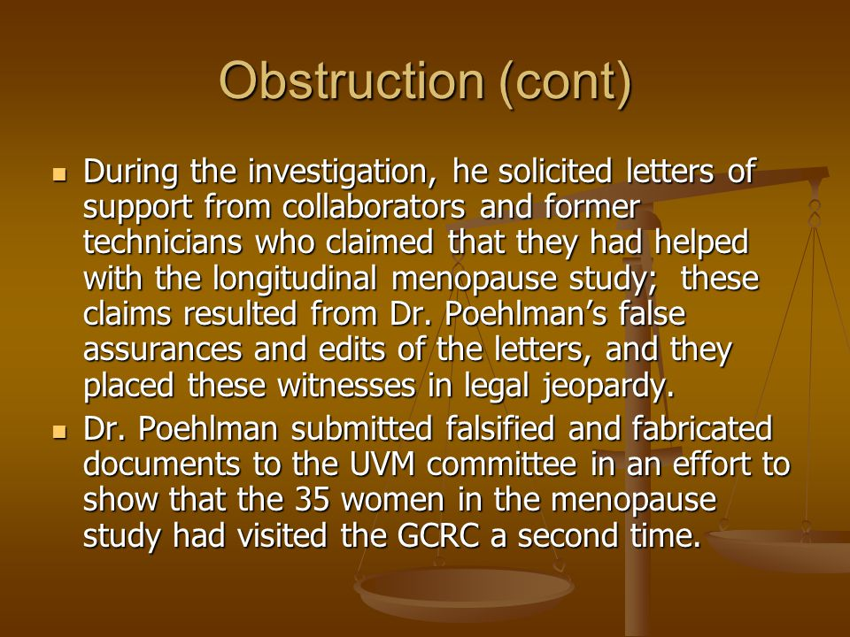 Obstruction (cont)