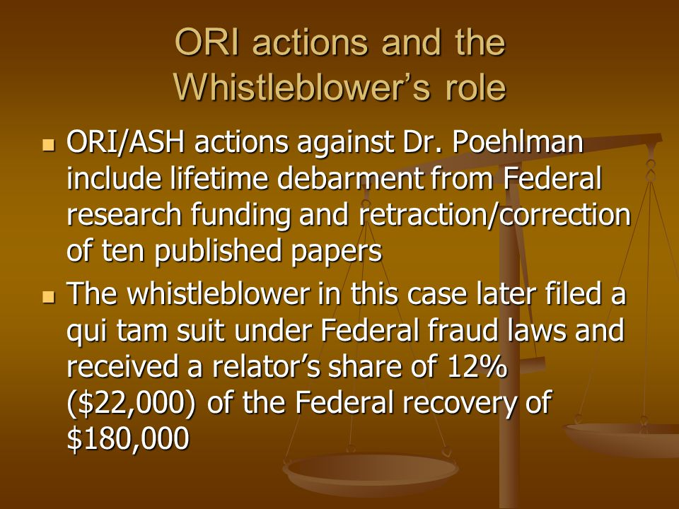 ORI actions and the Whistleblower's role
