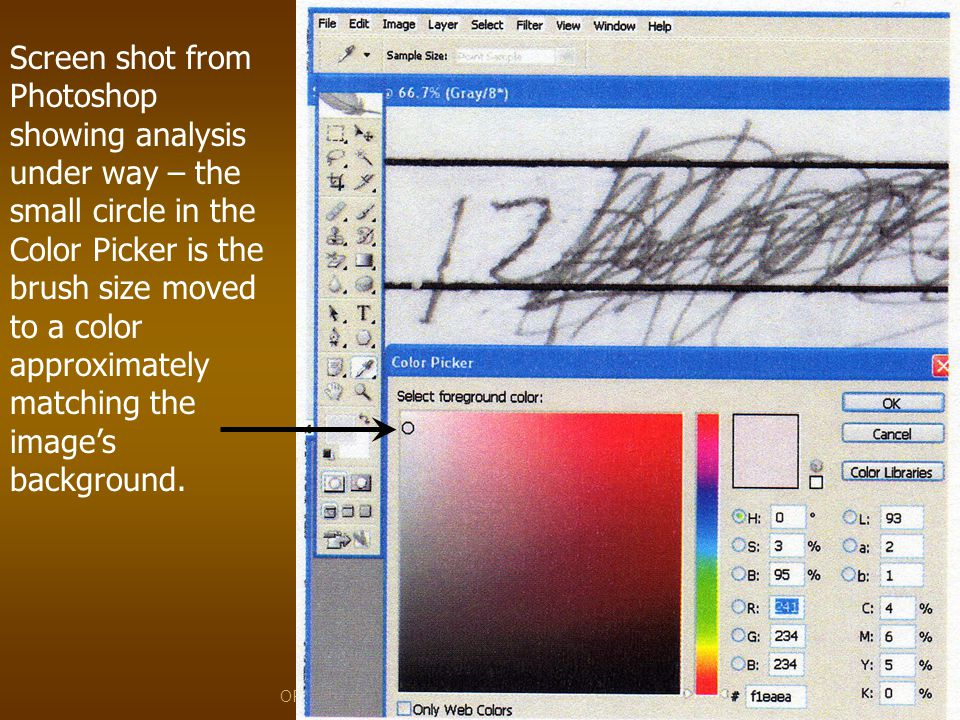 Screen shot from Photoshop showing analysis under way – the small circle in the Color Picker is the brush size moved to a color approximately matching the image's background.